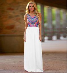 2016 Zomer stijl vrouwen mouwloze Tank lange jurk fashion wave gestreepte kleur print casual maxi jurken bohemian strand in           Echte foto's    Wij verschepen aan wereldwij van jurken op AliExpress.com | Alibaba Groep