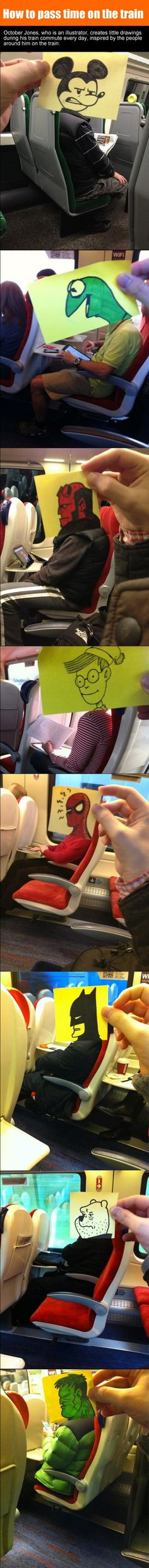 Illustrator Made Funny Doodles During His Daily Train Commute.
