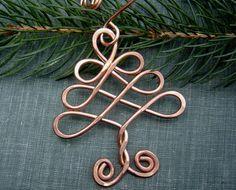 Árbol celta ornamento - árbol de navidad ornamento - alambre de cobre - hecho a mano regalo para las fiestas - la decoración del árbol celta de la vida, decoración para el hogar