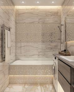 Визуализация квартиры для FreshArt, г. Нижний Новгород on Behance Bathroom Design Luxury, Modern Bathroom Design, Bathroom Tub Shower, Small Bathroom, Ideas Baños, Bathroom Styling, Home Decor Kitchen, Bathroom Inspiration, Living Room Designs