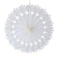 D�coration de no�l Flocon � suspendre en papier blanc (par 3)