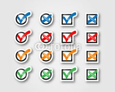 colorful sticker and badges of checkmarks and selections