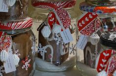 Gingerbread mini houses in a jar for the school Christmas market