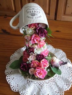 It will be great fun and pretty to add this decorative flying cup topiary for Easter home or office decoration Cup And Saucer Crafts, Teacup Flowers, Floating Tea Cup, Teacup Crafts, Cup Art, Deco Table, Topiary, Spring Crafts, Flower Crafts