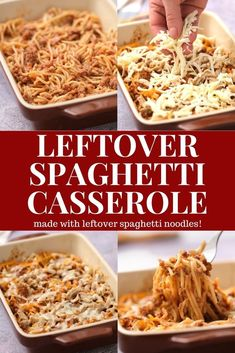 This leftover spaghetti casserole is an easy dinner meal recipe for your family. Enjoy leftover spaghetti noodles tossed in pasta sauce, then topped with cheese baked until golden brown.