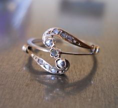 Art Nouveau Diamond Ring  FREE SHIPPING by AntiqueSparkle on Etsy, $685.00