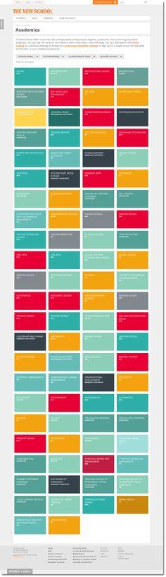 Academics for www.NewSchool.edu #desktop #rwd #flatUI #animated