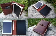 Handmade Genuine Leather Large moleskine and Ipad mini cover. This cover fits your large moleskine notebook and your ipad mini / ipad mini retina device. Moleskine reporter notebook can be used at the left side.  You can put your notebooks, phone, pencils, passport , credit cards, anything you want.You can use it as a portfolio.