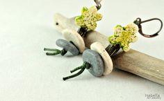 Green tree earrings christmas gift polymer clay tree