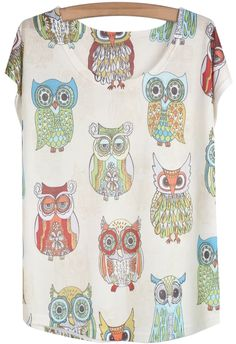 White Short Sleeve Owl Print Loose T-Shirt - Sheinside.com