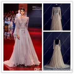 Discount Hot Sale 2014 Evening Gowns High Neck Backless A Line Chiffon UK Prom Dresses with Long Sleeve Elie Saab Real Image Celebrity Dress 0328 Online with $120.91/Piece   DHgate