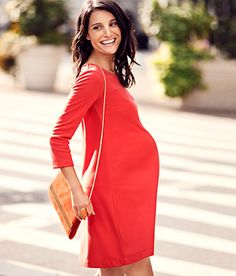 Loose shift-style dress. Love the bold solid red!