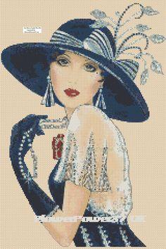 Cross stitch chart Art Deco Lady Flapper -No.35 FlowerPower37-uk FREE UK P&P | eBay