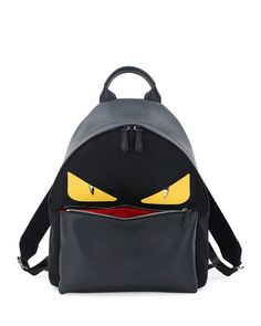 FENDI MONSTER EYES LEATHER/NYLON BACKPACK. #fendi #bags #leather #lining #nylon #backpacks #