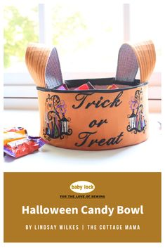 Greet trick or treaters with an adorable handmade Halloween candy bowl. Decorate the outside of the candy bowl with your favorite Halloween embroidery designs and sayings! 🎃 🍬 🍭 // Project by Lindsay Wilkes   The Cottage Mama // Project instructions are available through the link. The embroidery designs are found on select Baby Lock embroidery machine models.