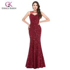 >> Click to Buy << Evening dresses Grace Karin elegant sequins burgundy sexy Backless Formal Party Gowns abendkleider 2017 Mermaid Evening Dress #Affiliate