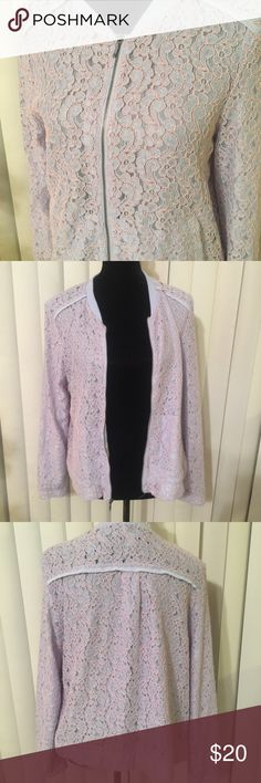 Lauren Conrad lace Bomber Jacket Sz 14 Beautifully jacket. Excellent condition. no damage. The colors are lavender and pink..Make an offer LC Lauren Conrad Jackets & Coats