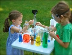 totally doing this during the summer. Potion lab with colored water. I might love it as much as the kids.