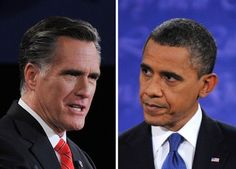 This combination of images shows, Republican presidential candidate Mitt Romney (L) and US President Barack Obama debating on October 3, 2012 in Denver, Colorado, during the first of three presidential debates.