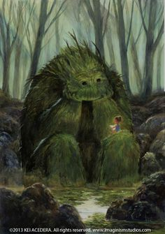 Eines Tages traf das kleine Mädchen im Wald auf ein Monster. Es schien nicht b… One day, the little girl in the woods met a monster. It did not seem to be bad, and as it did not leave the side of the girl, it began to read to him. Art And Illustration, Art Illustrations, Character Illustration, Fantasy Kunst, Wow Art, Magical Creatures, Forest Creatures, Fantasy World, Oeuvre D'art