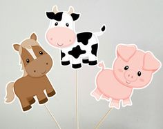 Farm Animal Centerpieces, Cow Centerpiece, Horse Centerpiece, Pig Centerpices by… Farm Animal Party, Farm Animal Crafts, Farm Party, Farm Animals, Cow Birthday, Farm Animal Birthday, Tractor Birthday, Stick Centerpieces, Centerpiece Decorations