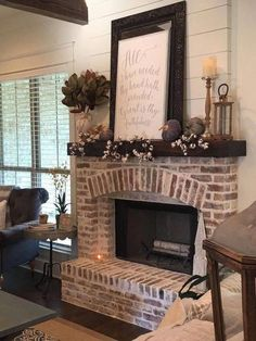 8 Magnificent Clever Hacks: Living Room Remodel Before And After Inspiration living room remodel with fireplace light fixtures.Living Room Remodel Ideas Foyers living room remodel on a budget awesome.Living Room Remodel With Fireplace Mantles. Farmhouse Fireplace, Home Fireplace, Fireplace Design, Brick Fireplace Decor, Fireplace Ideas, White Wash Brick Fireplace, Mantel Ideas, Decor Ideas, Decorating Ideas
