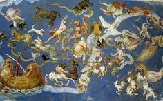 cielo stellato, con l'immagine del soffitto della Sala del Mappamondo in Palazzo Farnese a Caprarola, in cui sono raffigurati lo zodiaco e le costellazioni dell'emisfero boreale durante il solstizio d'inverno.