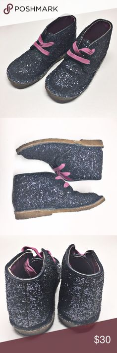 Cole Haan City chukka Boots Sz 8 toddler Awesome navy blue sparkly glitter shoes. Cole Haan brand, quality shoes. Glitter is hard glued and will not come off. Excellent preowned condition. Please no trades. Retail is $110 Cole Haan Shoes Boots