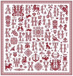 Glorious Sampler - Marquoir rouge au point de croix de Clorami Designs. www.clorami-designs.be