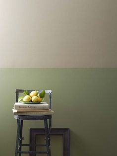 Two rich neutrals - Angler Green and Burlap - inspired by organic shades, from Ralph Lauren Paint's Modern Naturals palette