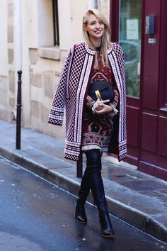 ohhcouture.com | Tory Burch printed coat, embellished dress, over the knee boots, leather overknees, Chloé Drew bag | #pfw #ohhcouture #LeonieHanne