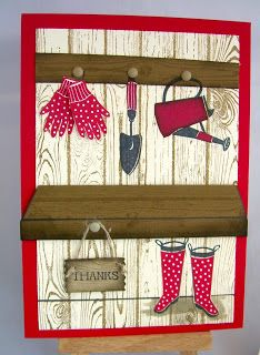 Elizabeth'S craft room: video inside the shed with gift from the garden card making tutorials Card Making Tutorials, Making Ideas, Cute Cards, Diy Cards, Craftwork Cards, Birthday Cards For Men, Stamping Up Cards, Paper Cards, Flower Cards
