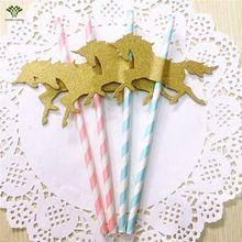 30 PCS/pack Unicorn Paper Straws Pony Paper Straws Stripe Drinking Straws Wedding Birthday Party Decoration Kids Party Supplies(China (Mainland))