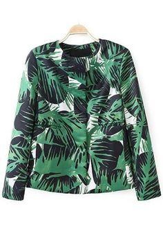 Tropical Print Textured Blazer