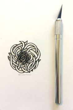 """This """"tangly rose"""" papercut design is the latest in my papercutting series (where I'm trying to adapt and hand-cut 100 papercuts in 100 days. Rose Leaves, One Design, Laser Cutting, Cardmaking, Projects, Board, Blog, Inspiration, Papercutting"""