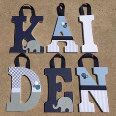 Wooden Letters For Nursery, Painting Wooden Letters, Baby Letters, Painted Letters, Elephant Nursery Decor, Elephant Theme, Nursery Ideas, Wood Letters Decorated, Elephant Baby Showers