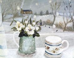 Almost Home by Sarah Bowman Winter Painting, Winter Art, Christmas Illustration, Illustration Art, Book Illustrations, Vintage Winter, Art For Art Sake, Winter Landscape, Bouquet