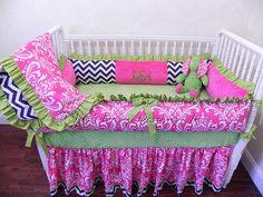 Custom Crib Bedding Set Brittany Hot Pink by BabyBeddingbyJBD