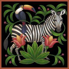Zebra by Stephanie Stouffer Zebra Kunst, Zebra Art, Botanical Illustration, Illustration Art, Haitian Art, Animal Paintings, African Art, Artist Art, Decoupage