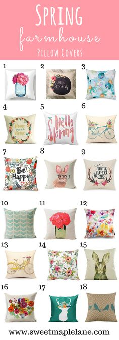 Super cute spring farmhouse pillow covers to brighten up your decor!