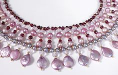 Pearl and garnets necklace @ www.patbijoux.com