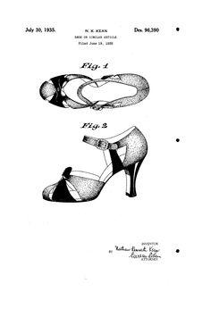 1935 DESIGN FOR A SHOE   Nathan Kenneth Kean