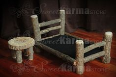Real Wood Style2 Newborn Doll Log Bed w/matching Table Photo Photography Prop