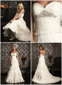 The perfect wedding dress for a Country Wedding, ideal for the bride who wants to add a little country (and cowgirl boots of course!!) to her special day. -Allure Style 9011