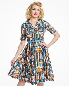 Bletchley Book Print Turquoise Shirt Swing Dress   Vintage Inspired Fashion   Lindy Bop