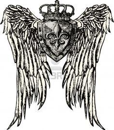 Fleur de lis royal emblem with wing — Stock Illustration King Crown Tattoo, Crown Tattoo Design, Body Art Tattoos, Sleeve Tattoos, Family Crest Tattoo, Shield Tattoo, Eagle Emblems, Zodiac Sign Tattoos, Kings Crown