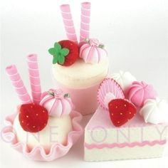 Felt Cake Dessert Set 3 Princess Strawberry Tea por onenonly88