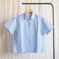 YAECA - Comfort Shirt Square S/S #blue stripe