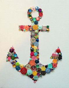 button anchor- this could be cute in shades of blue on a painted yellow striped canvas