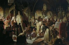 """Kind of a stretch to be on this board, but I think this might be a real happening in style and content about the Imperial Family---""""Old Believer Priest Nikita Pustosviat Disputing with Patriarch Joachim on Matters of Faith"""". Painting by Vasily Perov, 1880. The (unnamed) empress is wearing an unusual imperial-style, side-to-side, single-arch crown. A crown that matches none we know of."""